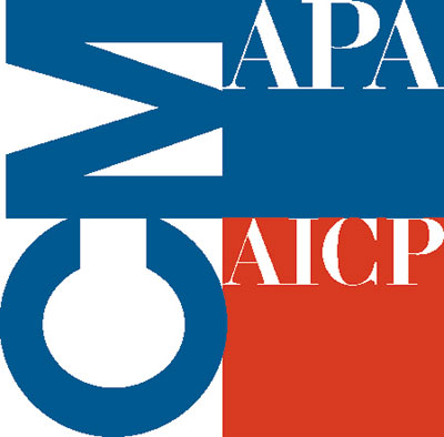 Continuing Maintenance program logo from the American Planning Association and the American Institute of Certified Planners.