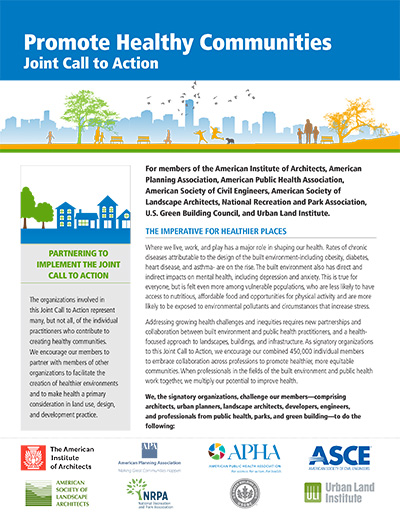 Promote Healthy Communities — A Joint Call to Action