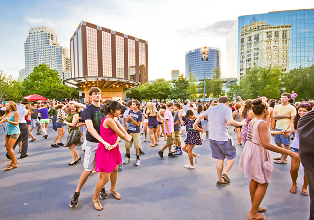 Grand Rapids Swing Society provides free swing dancing every Tuesday night  in the summer. Photo courtesy Experience GR.