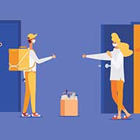 An illustration of a delivery person dropping off groceries for a buyer without close physical contact. Both are wearing masks and giving each other the thumbs-up sign.