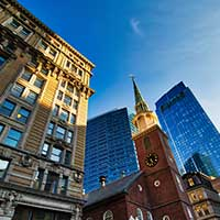 The Old South Meeting House in Boston, a National Historic Landmark and the original site of the Boston Tea Party.