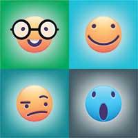 Four emojis displaying different emotions.
