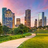 The Houston, Texas, skyline.