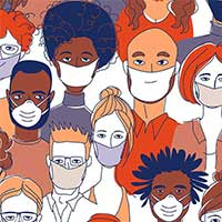Illustration of diverse group of people wearing masks
