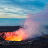 Fire and steam erupting from Kilauea Crater (Pu'u O'o crater), Hawaii Volcanoes National Park, Big Island of Hawaii. Getty Images.