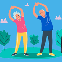 An illustration of older people leaning to the left, arms above their heads, stretching. Getty Images.