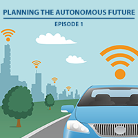Illustration of an autonomous vehicle on a road with a city skyline behind it.