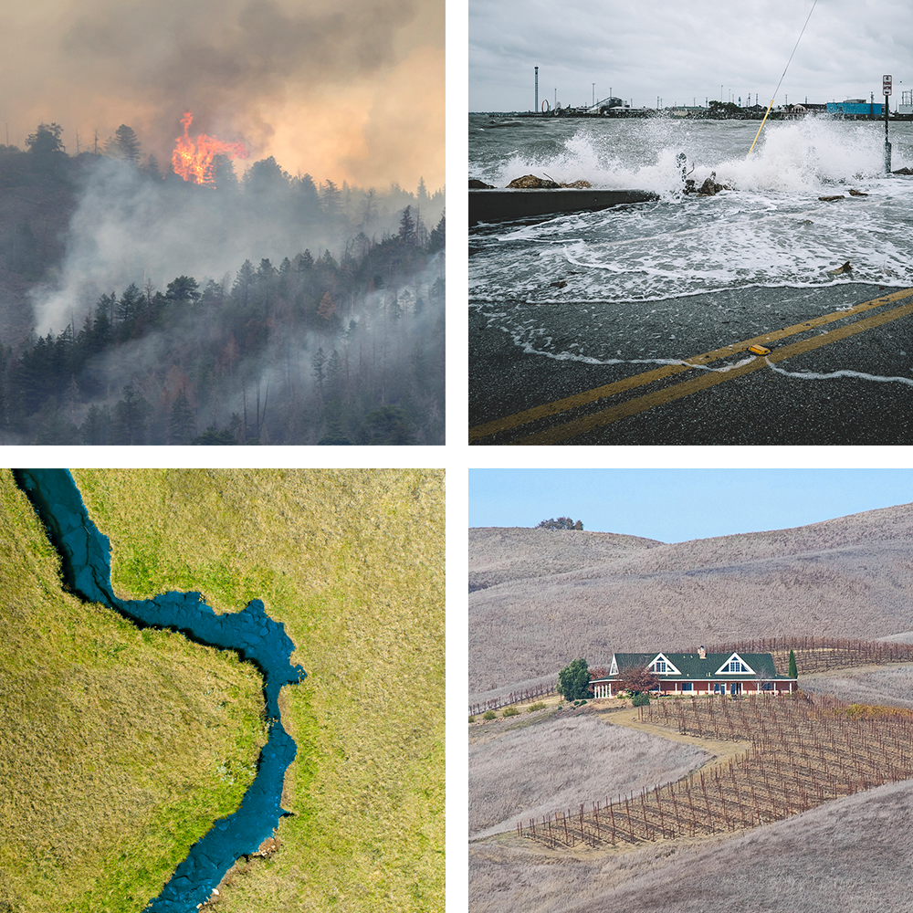 Four images (top left: a wildfire raging through a forest; top right: waves crashing onto a waterfront road during a storm in a coastal town; bottom right: a California farmhouse surrounded by drought-ravaged land; bottom left: an aerial of a river) with the words 'Resilience Roundtable' laid on top. Bottom right photo by flickr user John Wiess (https://www.flickr.com/photos/jweiss3/).