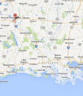Shreveport on map