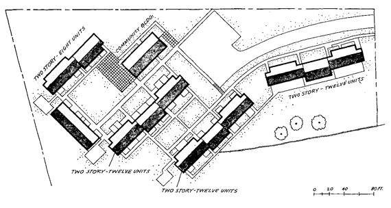 Plot plan of housing project for the elderly in Natick, Massachusetts