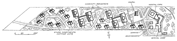 Plot plan of Lutheran Church housing development for the elderly in Westlake, Ohio