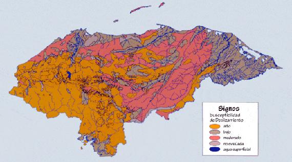 2.2.5: Mapa de susceptibilidad al deslizamiento de Honduras
