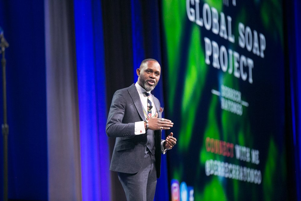 Derreck Kayongo inspired planners during the opening keynote at NPC18 in New Orleans. APA photo by RIverside Photography.