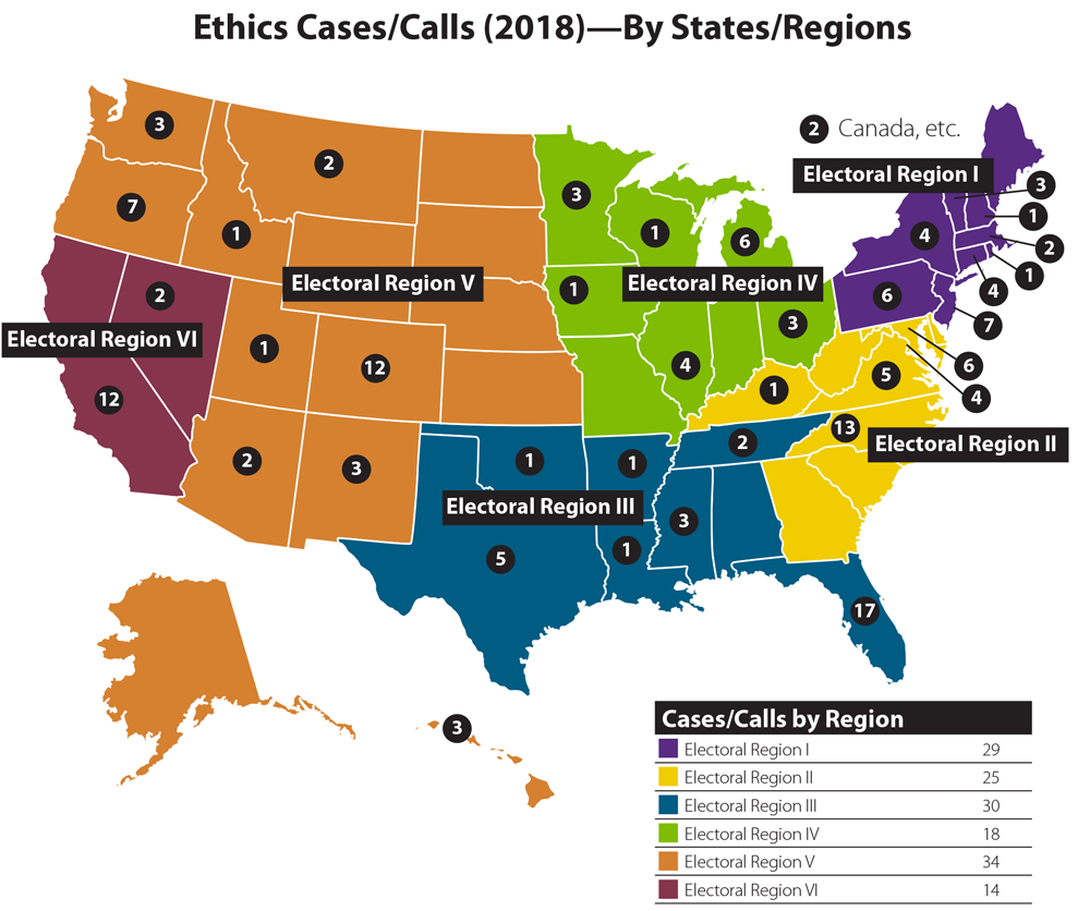 Map of the United States displaying AICP ethics cases that arose in 2018. Graphic by Susan Deegan.