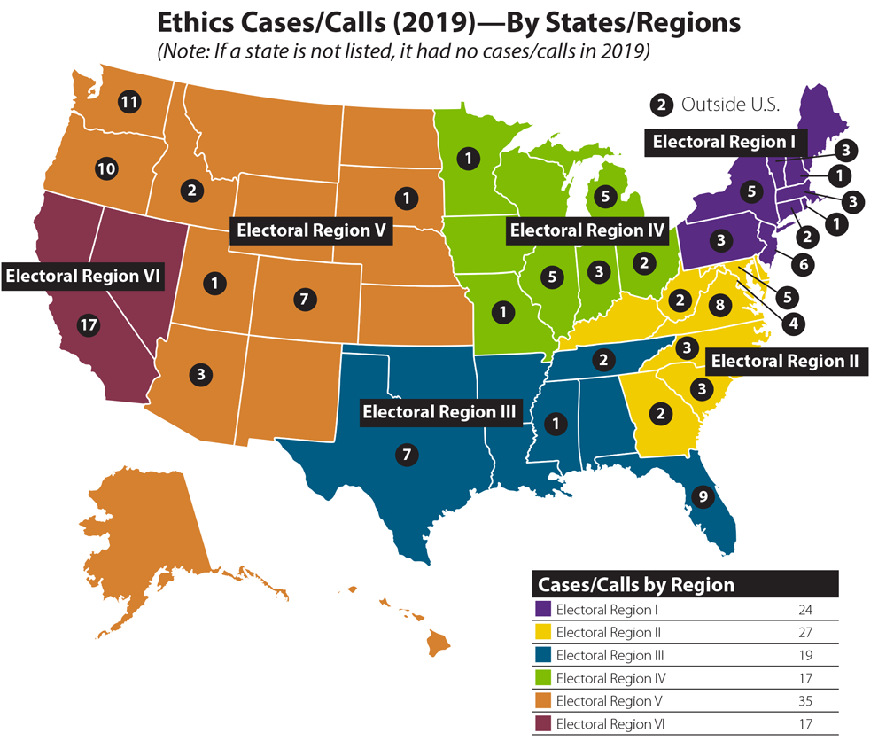 Map of the United States displaying AICP ethics cases that arose in 2019. Graphic by Susan Deegan.