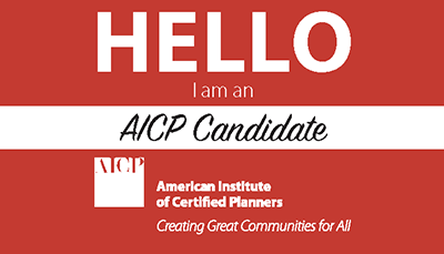 Front side of the AICP Candidate Pilot Program business card