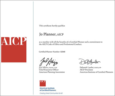 AICP Certificate