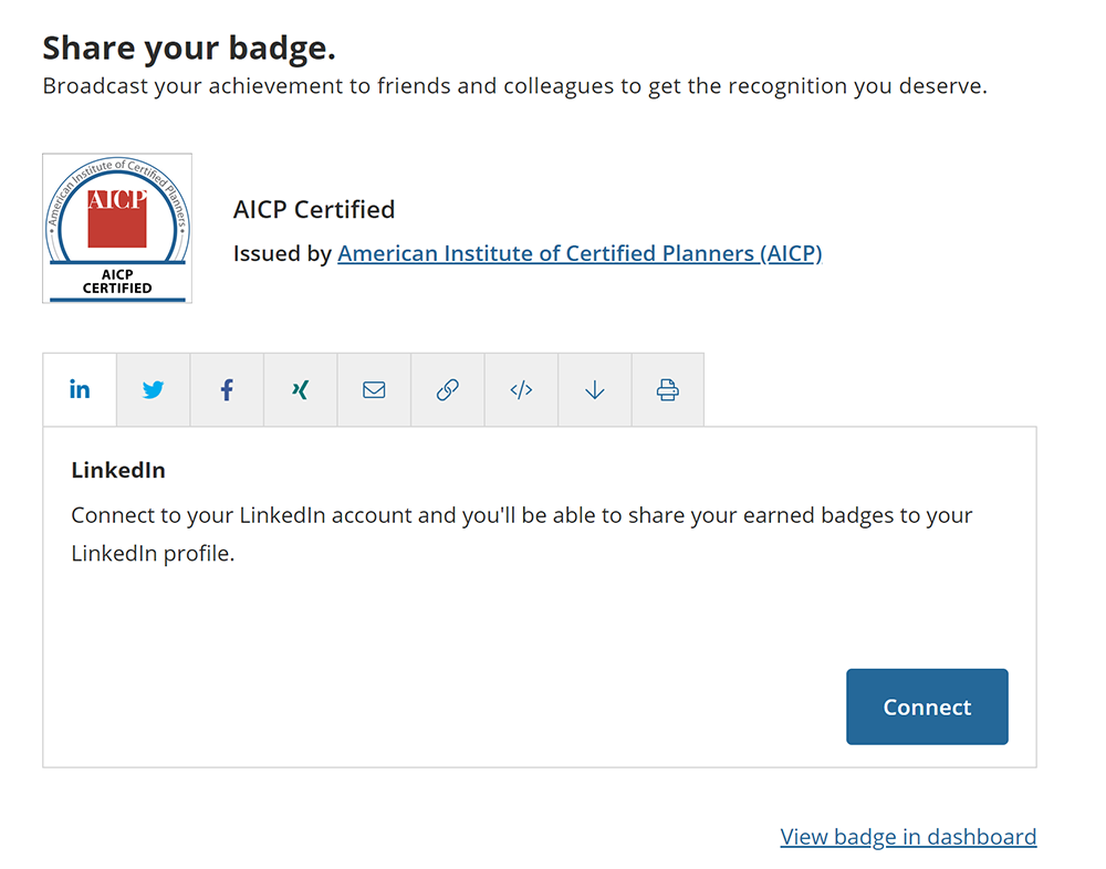 Screenshot of step connecting LinkedIn to Acclaim AICP digital credential account.