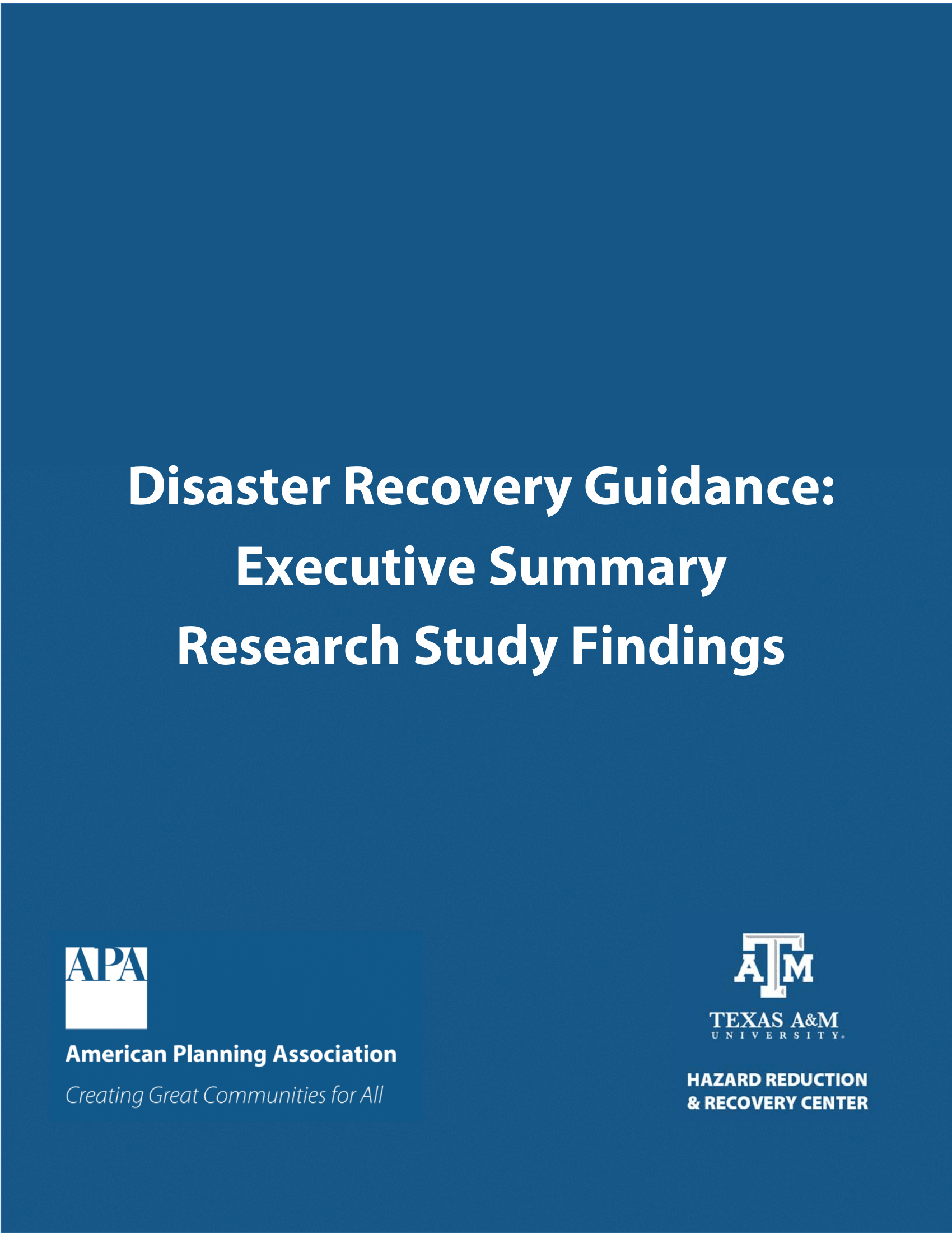 The cover page of Disaster Recovery Guidance: Executive Summary