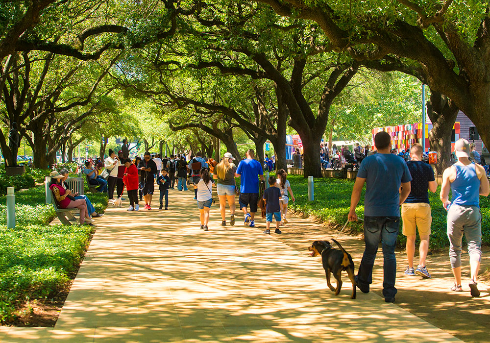 Park visitors on a multi-use path. Photo courtesy Discovery Green.