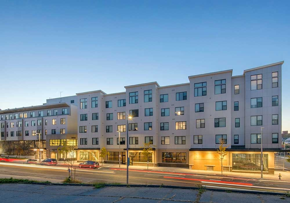 Figure 1. Boston Medical Center partnered with the city of Boston to create Bartlett Station, a mixed-use development with affordable housing, housing for people experiencing homelessness, and community-based retail (Boston Medical Center)