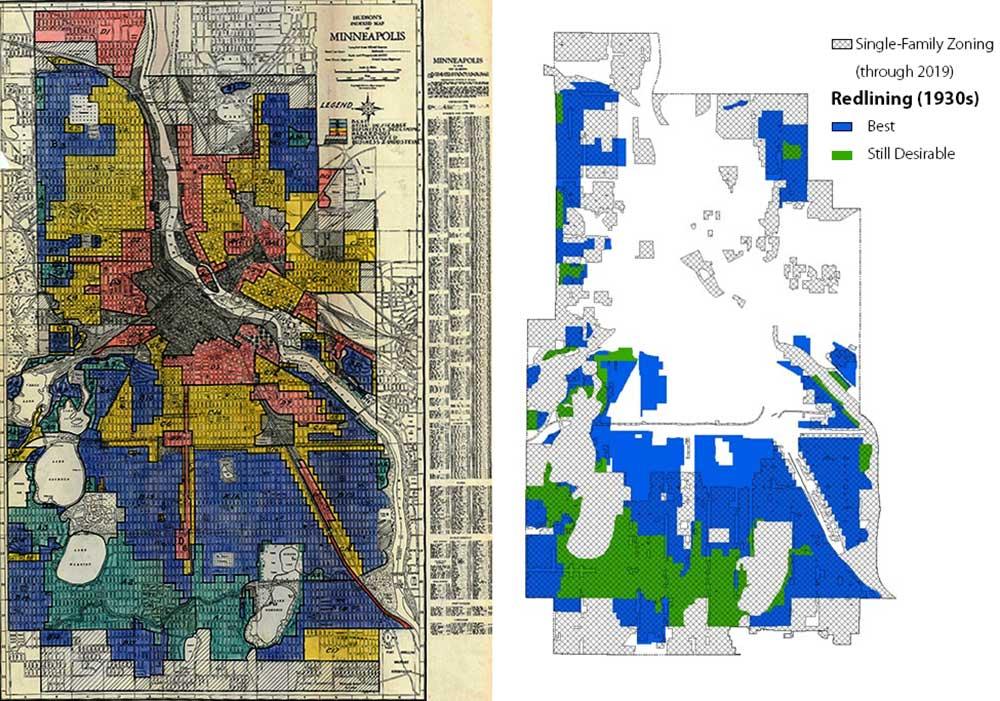 Figure 4. Left:  Minneapolis HOLC redlining map (Mapping Inequality, University of Richmond)