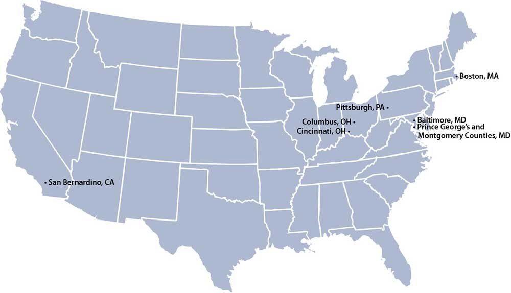 Figure 4. Communities served by the six AIHC nonprofit hospital and health system participants (Center for Community Investment)