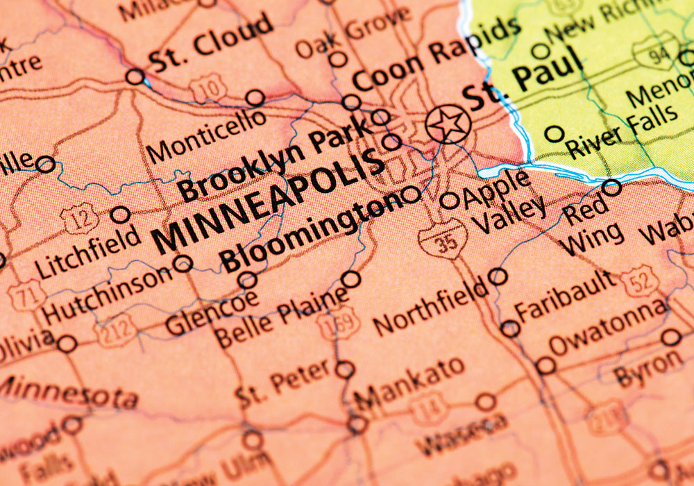 Getty image of the map of Minneapolis