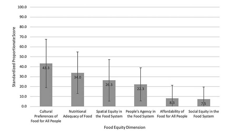 Figure 1: Comparison of average standardized proportionate scores for each food equity dimension.