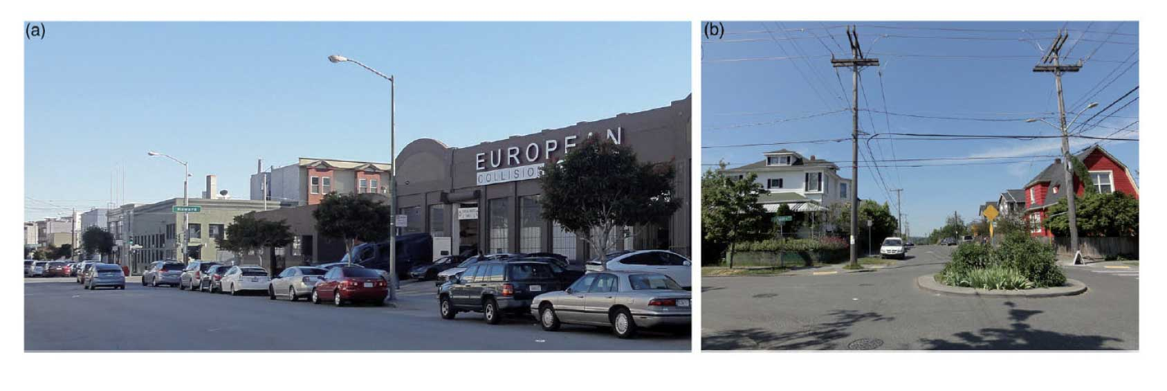 Figure 3.The plan boundary runs through the middle of these photos in San Francisco (left) and Seattle (right). In the SF photo, the buildings in the foreground are in the plan area; those in the background (the green building and beyond) are outside but the light industrial character is the same. In the Seattle photo, the house on the left is in the overlay zone, but the house on the right is not