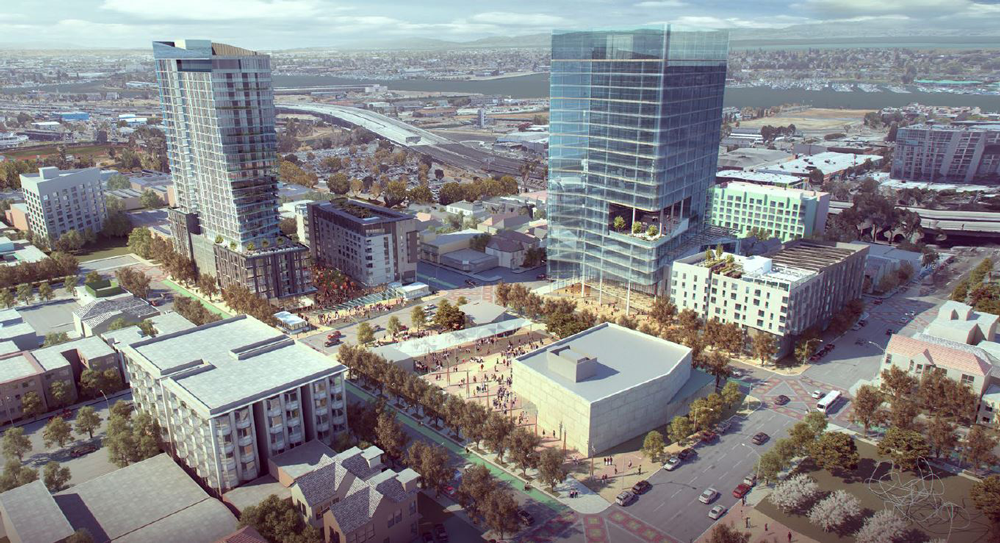 In September 2018, the BART Board approved a master developer that submitted this conceptual design for the site over the Lake Merritt station. Image from EBALDC and Strata Proposal for the Redevelopment of Lake Merritt BART Station.