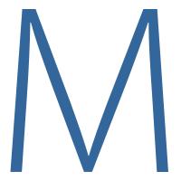 Uppercase blue letter M.