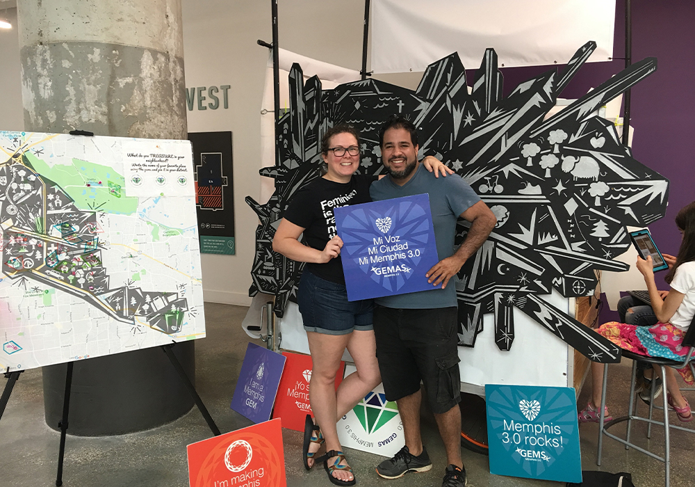 Plan participants interact with artist Yancy Villa Calvo's Go Explore Memphis Soul (GEMS)community input exhibit. Memphis 3.0 Comprehensive Plan is the 2020 winner of APA's Daniel Burnham award. Photo Credit: City of Memphis, Tennessee