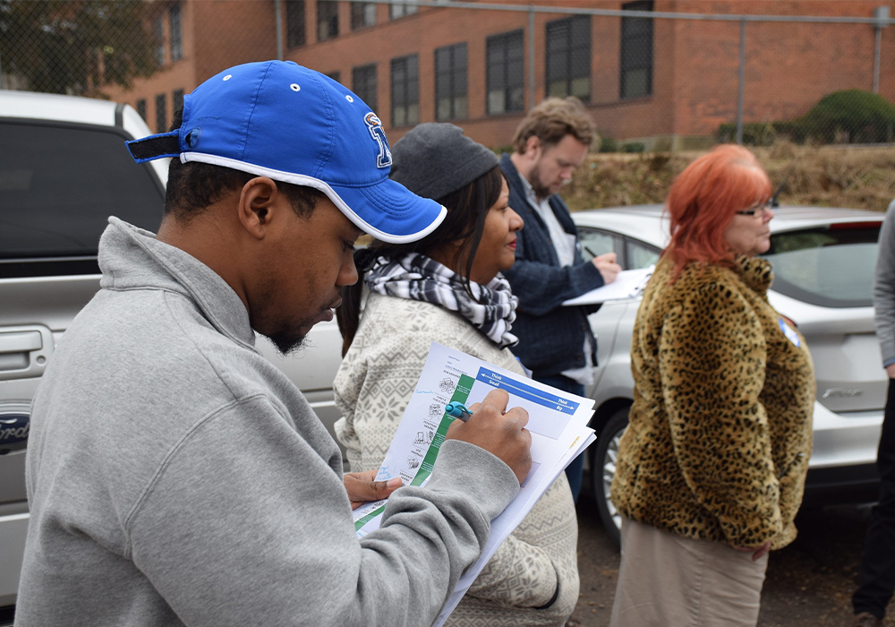 Community tour participants in the Jackson District record ideas for changes in the public realm near an elementary school. Memphis 3.0 Comprehensive Plan is the 2020 winner of APA's Daniel Burnham award. Photo Credit: City of Memphis, Tennessee