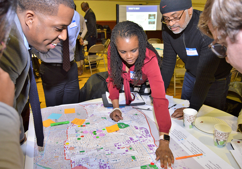 Residents of the South District map assets, challenges, and opportunities for new growth in the first of three planning workshops for each district. Memphis 3.0 Comprehensive Plan is the 2020 winner of APA's Daniel Burnham award. Photo Credit: City of Memphis, Tennessee