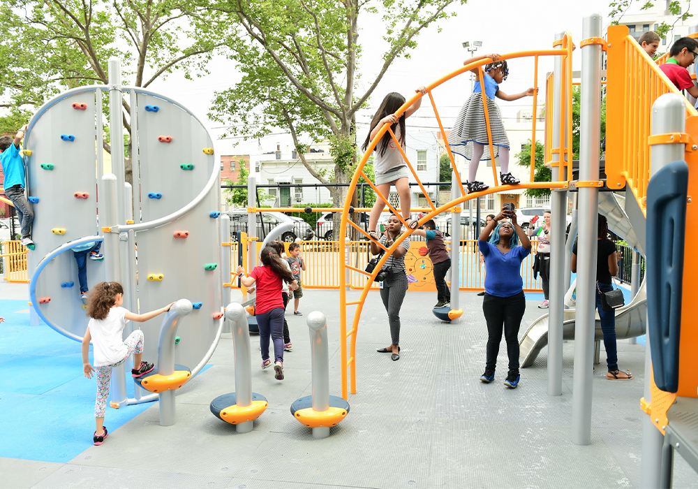 Opened June 27, 2017 following a $3.5 million renovation, Van Alst Playground in Queens is the first completed CPI project. Photo Credit: Malcolm Pinckney/NYC Parks