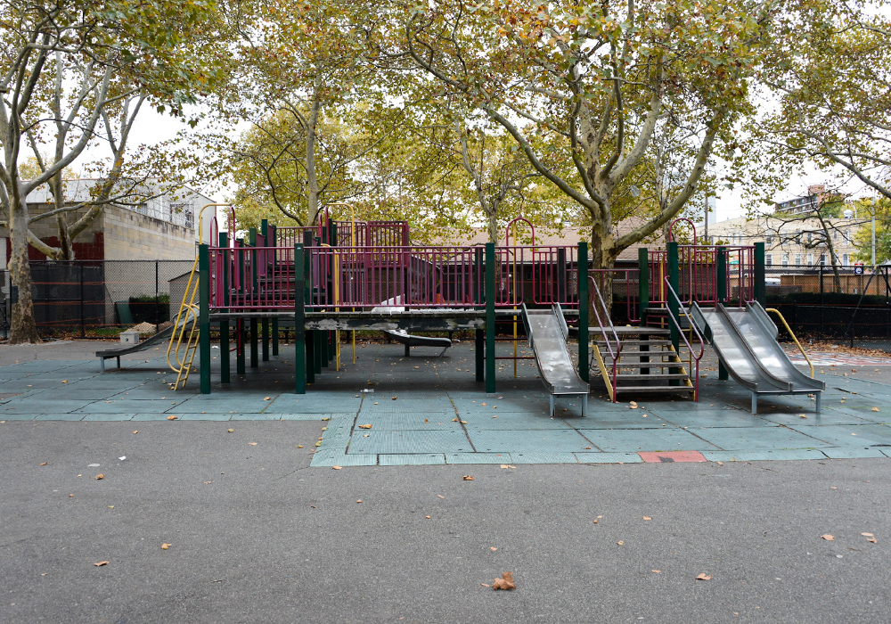 2014 Van Alst Playground in Queens before $3.5 million CPI investment for renovation. NYCParks Community Parks Initiative is the recipient of the 2020 Advancing Diversity and Social Change in Honor of Paul Davidoff award. Photo Credit: Daniel Avila/NYC Parks