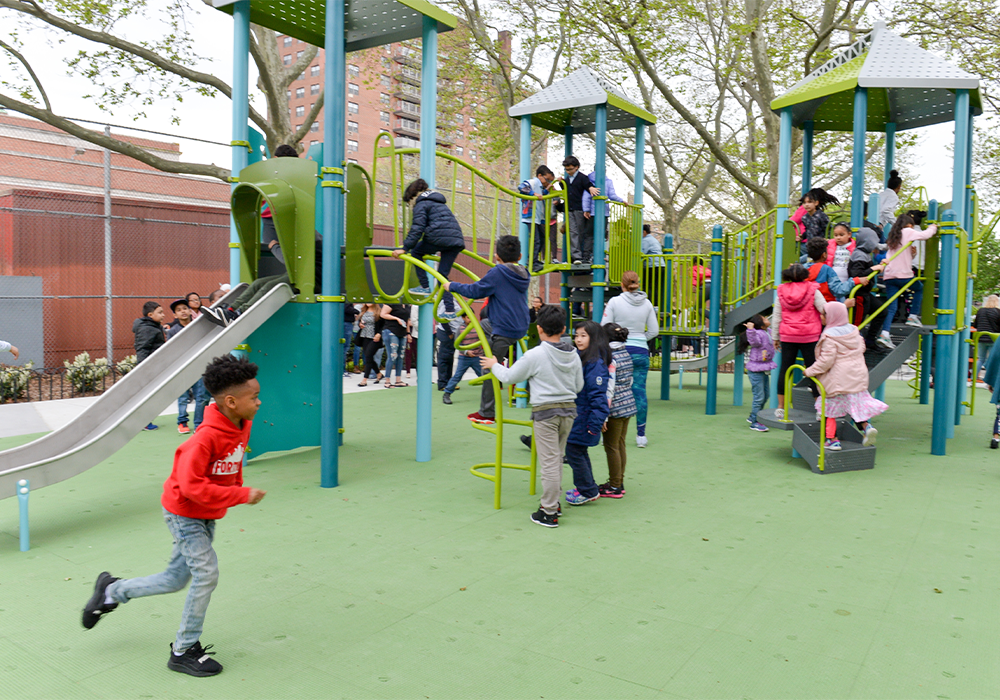 Black Rock Playground in the Bronx, designed with input from the students of the nearby public school, received a $1.9 million CPI investment. NYC Parks Community Parks Initiative (CPI) is the recipient of the 2020 Advancing Diversity and Social Change in Honor of Paul Davidoff Award. Photo Credit: Daniel Avila/NYC Parks