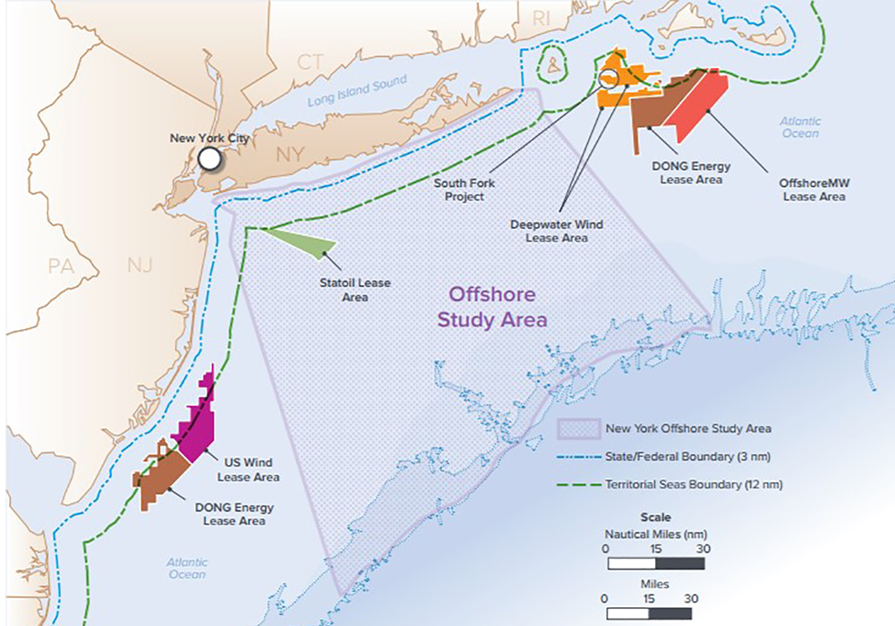 After consultation with a diverse group of stakeholders, the NY State Offshore Wind Master Plan analyzes potentially affected resources within a 16,740-square-mile offshore study area.