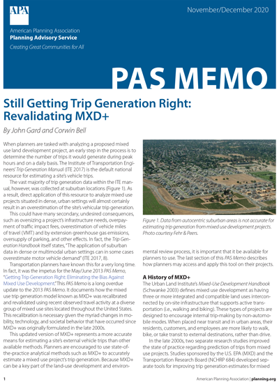 Cover of PAS Memo November-December 2020: Still Getting Trip Generation Right: Revalidating MXD+
