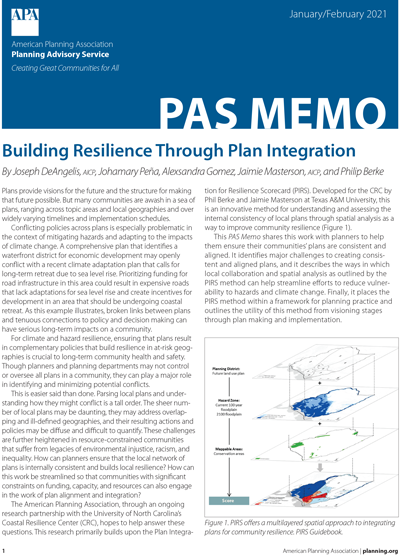 Cover of PAS Memo January-February 2021: Building Resilience Through Plan Integration.