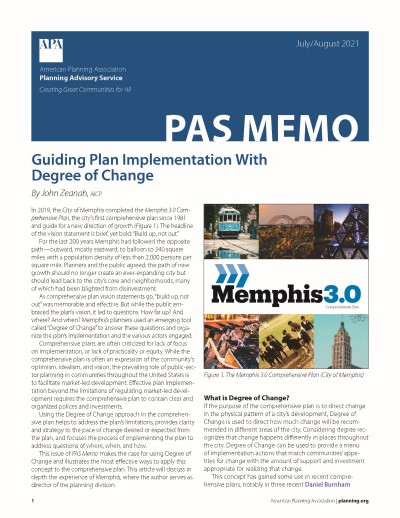 Cover of PAS Memo July-August 2021: Guiding Plan Implementation With Degree of Change