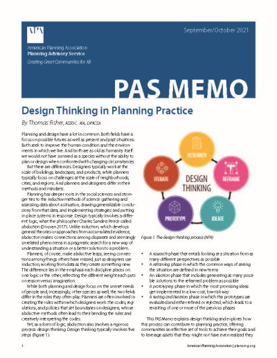 Cover of PAS Memo July-August 2021: Design Thinking in Planning Practice