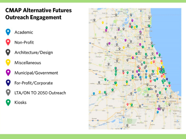 "Figure 7. Map of public engagement for the ""alternative futures"" phase development of CMAP's ON TO 2050 regional plan (CMAP 2018)"