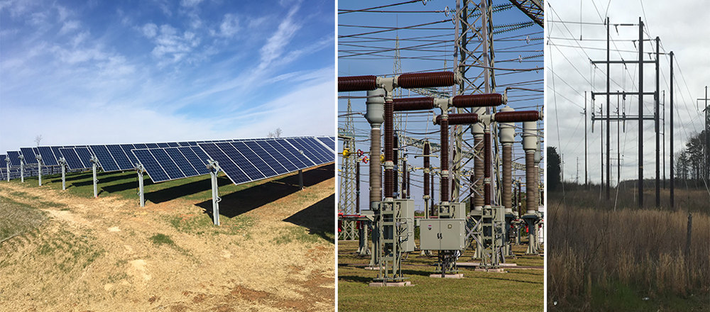 Figure 2. Components of a solar farm: solar panels (left), substation (center), and high-voltage transmission lines (right). Photos courtesy Berkley Group (left, right) and Pixabay (center).