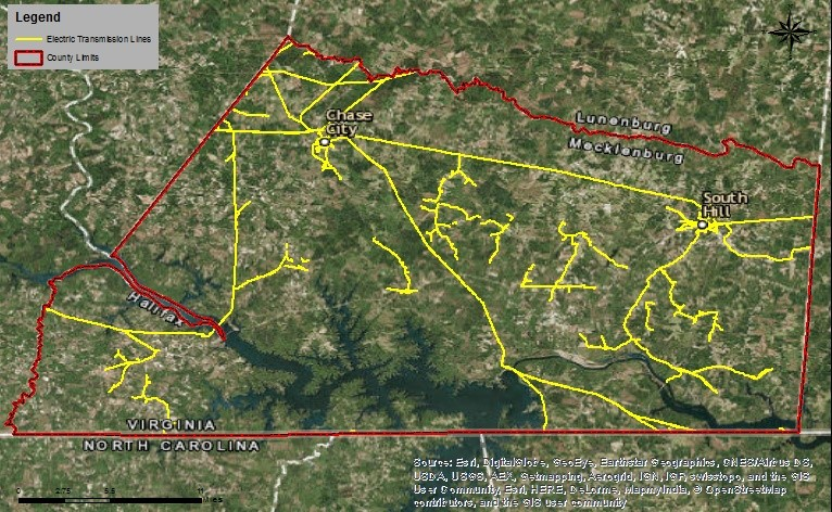 Figure 4. Electric transmission lines in Mecklenburg County, Virginia. Courtesy Berkley Group.