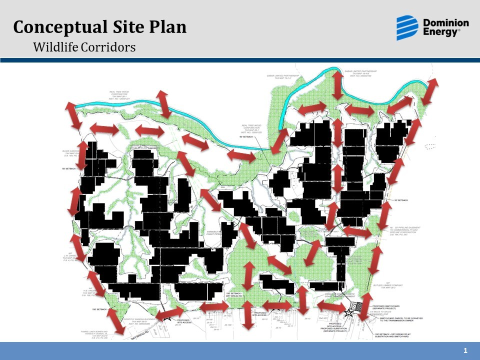 Figure 6. A conceptual site plan for a 1,491-acre utility-scale solar facility showing wildlife corridors throughout the site. Courtesy Dominion Energy.