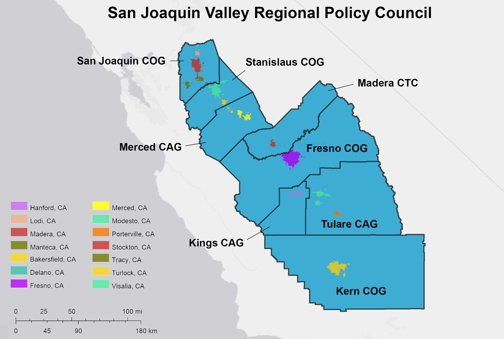 Figure 5. Constituent MPO Planning Areas and Urbanized Areas of the San Joaquin Valley Regional Policy Council. Sources: HEPGIS, Esri, HERE.
