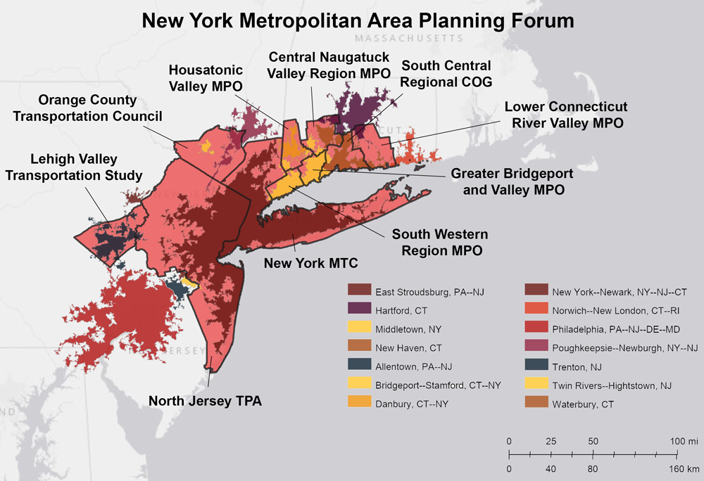 Figure 6. Constituent MPO Planning Areas and Urbanized Areas of the New York Metropolitan Area Planning Forum. Sources: HEPGIS, Esri, HERE.