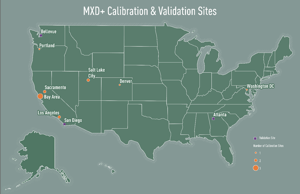 MXD+ calibration and validation sites. Courtesy Fehr & Peers.